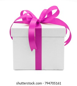 Valentine, Christmas and New Year's Day , pink gift box white background