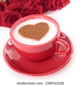 Valentine coffee with roses on isolated white background