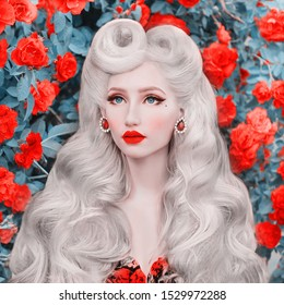 Valentine Day background. Beauty face. Fabulous blonde girl with stylish hairstyle and red lips on awesome rose background. Woman portrait. Awesome blonde model on background of roses bush. Kinky hair