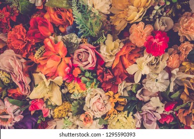valentine day background. bouquet of colourful flower with roses background. vintage filter