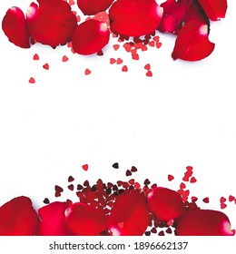 Valentine day background with red hearts and rose petals , top view with copy space,Post card