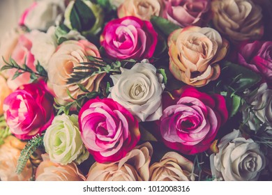 Valentine day background. Retro bouquet rose flower close up