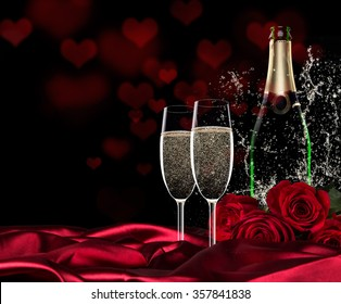 Valentine day with champagne and roses