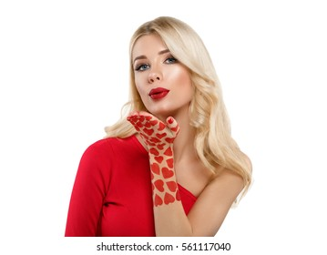 Valentine Day Heart Beauty Woman face Portrait Beautiful Spa model Girl with Perfect Fresh Clean Skin. Blonde model smiling makeup Youth and Skin Care Concept. Isolated on a white background