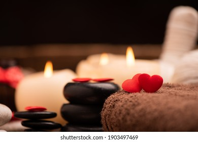 Valentine day. Wellness decoration setting spa close up