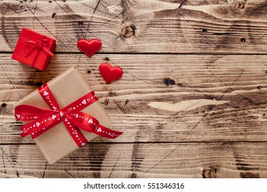 Valentine Day Wood Background Red Hearts Stock Photo Edit Now