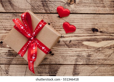 Valentine S Day Composition With Romantic Decorations Paper Gift