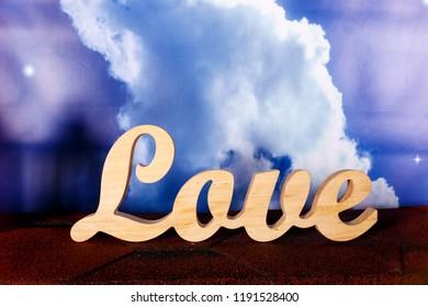 Valentine day , wooden plaque sign love