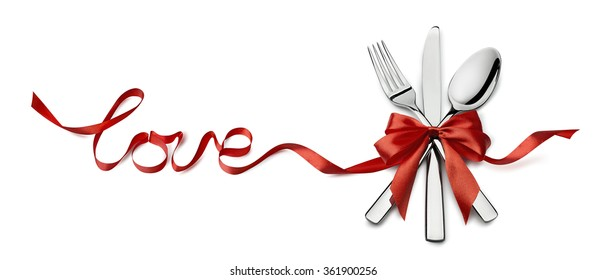 Valentine fork, knife, spoon, silverware in red ribbon love letters design element isolated on white background for catering, menu, email, banner, restaurant party celebration