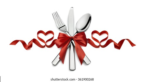Valentine fork, knife, spoon, silverware in red ribbon heart shape design element isolated on white background for catering, menu, email, banner, restaurant party celebration