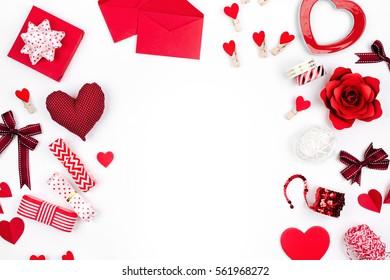 Valentine frame. Red decoration. flat lay