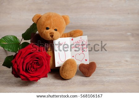 Valentine Gift for her. Cute plush toy Bear with a hand write love message and & Valentine Gift Her Cute Plush Toy Stock Photo (Edit Now) 568106167 ...