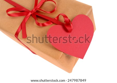Valentine Gift Package Red Ribbon Heart Stock Photo Edit Now