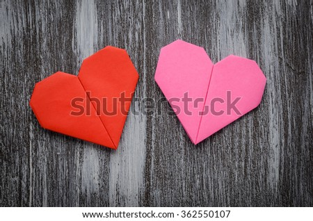 Valentine Greeting Paper Folded Origami Love Stock Photo Edit Now