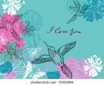Valentine hand drawing blue and pink background with flowers