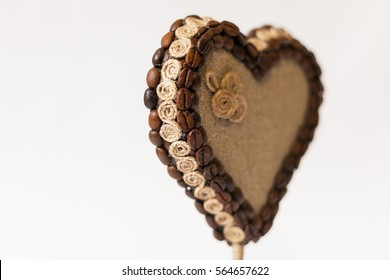 Valentine - handmade heart-shaped topiary made of coffee beans, sackcloth and rope
