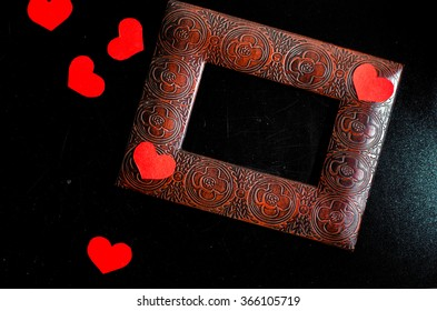 valentine heart and blackboard,gift box,,horizontal photo