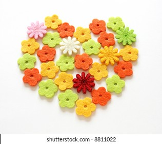 valentine heart made with felt flowers