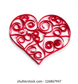 Valentine Heart made of paper stripes on white paper background
