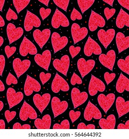 Valentine Hearts Black Background