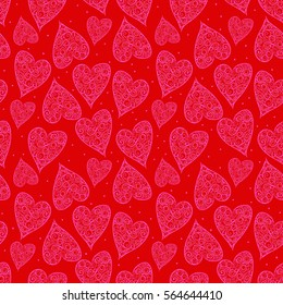 Valentine Hearts Light Red Background