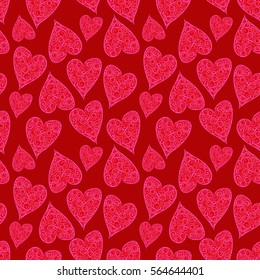 Valentine Hearts Red Background