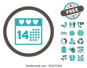 Valentine Love Day icon with free bonus design elements. Glyph illustration style is flat iconic bicolor symbols, grey and cyan colors, white background.