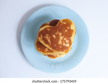 Valentine pancakes heart on the plate