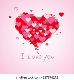 Valentine red love hearts background