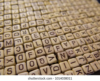 Valentine for smart cubes with letters of the encrypted words about love