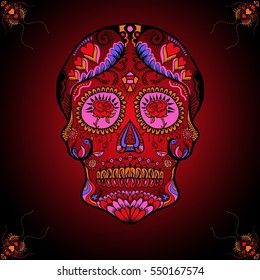 Valentine Sugar Skull with Red and Black Background