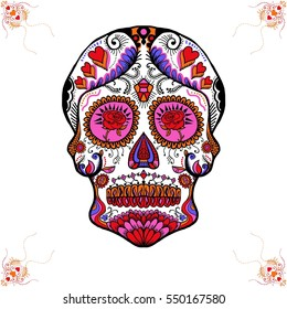 Valentine Sugar Skull with White Background