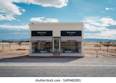 Valentine, TX / USA - March 17 2018: Southwest Texas roadtrip to Prada Marfa