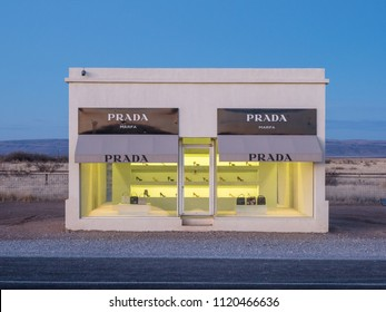 Valentine, TX/USA - 13th  March 2018: The Prada Marfa store sits alone at dawn in the middle of the desert.
