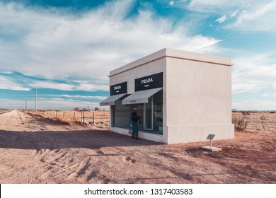 Valentine, TX/USA - 19th December 2006: A man checking out the Prada Marfa store near Valentine, TX