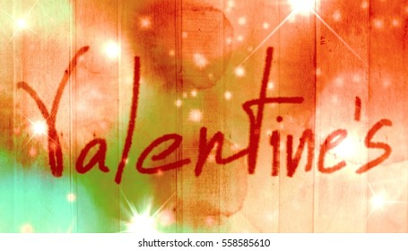 Valentine word with selected tone color wooden board and light flare
