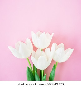 Valentine's background. Floral bouquet made of white tulips on pink background. Flat lay, top view. Valentines Day background.