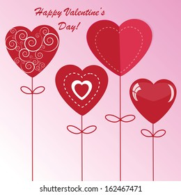 Valentine's background with four different hearts on pink phone
