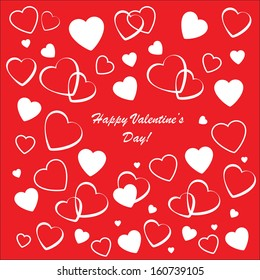 Valentine's background with many white hearts on red phone