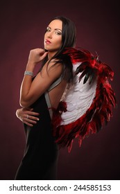Valentines beauty girl  with big red and white wings studio