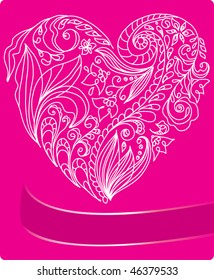 Valentine's card with pink floral heart and place for text