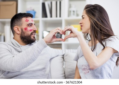 Valentines couple make a heart with their hands,shallow depth of field