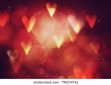Valentines day. Valentines  abstract background with hearts and bokeh. Love red background. Valentines day glittering lights