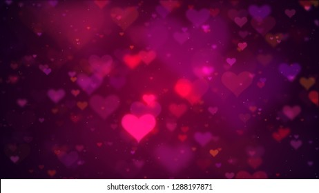 Valentine's day abstract background (Valentine). Romantic pink glow defocused hearts.