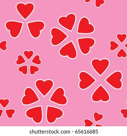 Valentine's day abstract seamless background with red hearts. Raster illustration.