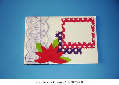 Valentines day applique greetings card white paper with red flowers, openwork lace and polka dot paper purple, green, pink