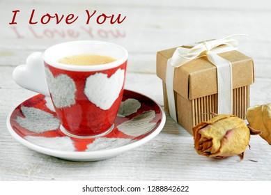 Valentine's day awakening with coffee and love