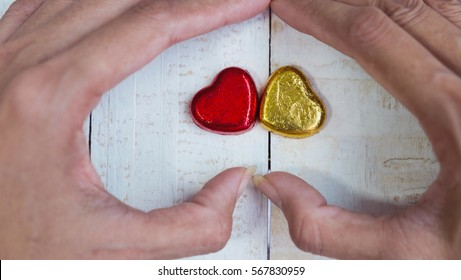 Valentines Day background , Abstract of Love , Love concept , two hearts in hand