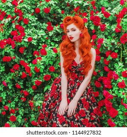 Valentines Day background. Awesome girl with red lips in stylish dress with print of roses in beautiful summer garden. Awesome beauty redhead model with hairstyle on background of bush of roses.