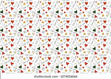 Valentines day background in black, white and orange colors. Abstract love seamless pattern. Raster heart, chamomile flower, text seamless pattern.